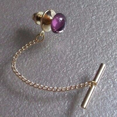 VINTAGE RETRO TIE PIN STUD TAC TACK 1960s 1970s MOD PURPLE GLASS STONE GOLDTONE