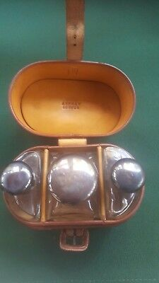 Asprey London Leather Flask Case with Sterling Lid Bottles - August Robert Meyer