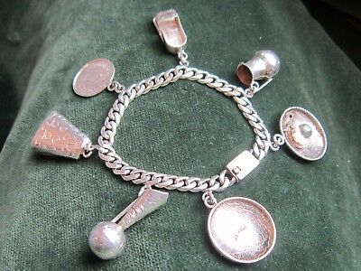 Vintage sterling silver heavy Mexican charm bracelet 1970s  32g scrap