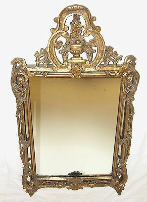 Large Reproduction Antique Louis XV Rococo Style Gilt Metal Mirror