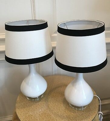 Pair Of Small White Table Lamps