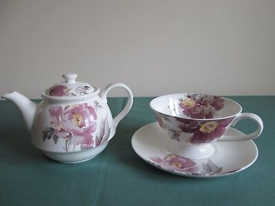Laura Ashley Tea For One - Peony Garden Amethyst - Teapot + Cup & Saucer