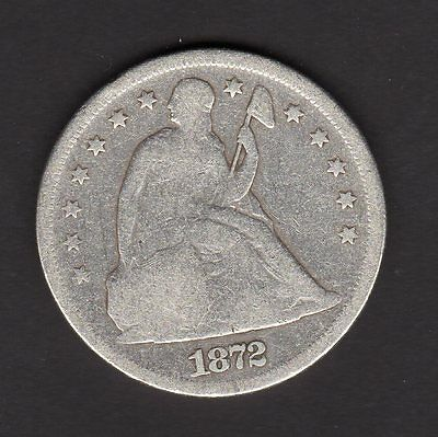 US 1872-P Silver Seated Liberty Dollar Cleaned Coin in G Good Condition