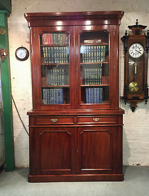 Quality Genuine 19th Century Victorian Mahogany Antique Bookcase on Cupboard.