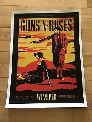 GUNS N ROSES WINNIPEG Lithograph Aug 24 2017 Ltd Ed 326/350 RARE!