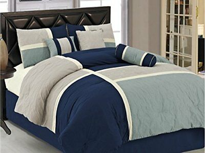 Chezmoi Collection 7-Piece Quilted Patchwork Comforter Set, Full, Blue/Gray