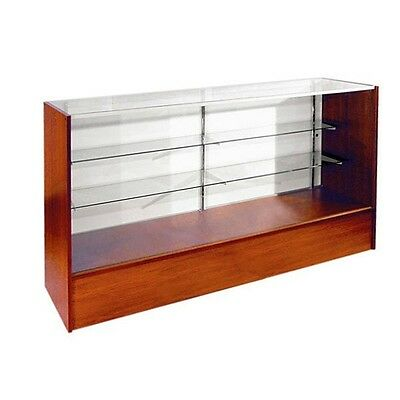 4' Full Vision Retail Glass Display Case in Cherry Will Ship