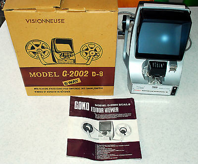 Vintage Goko G2002 D8 8mm Film Editor / Viewer With Original Instructions & Box