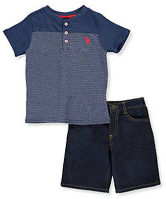 NWT U.S. POLO ASSN. BOYS' 100% COTTON 2-PIECE OUTFIT Denim short w/striped shirt