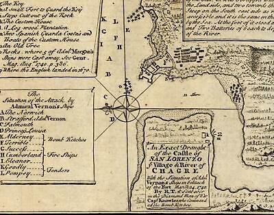 Panama Castle Fort of San Lorenzo British army battle plan 1740 old map Jolly