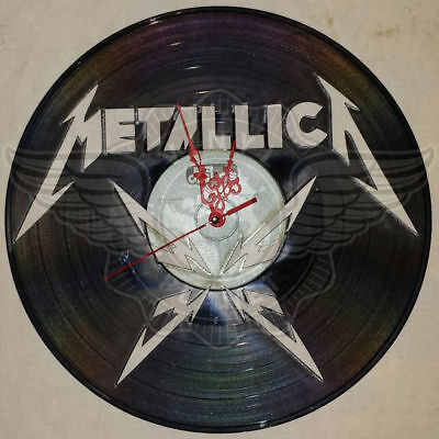 VINYL PLANET Wall Clock METALLICA 2 Home Record Unique Decor upcycled 12''