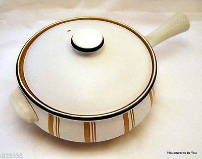 Denby China Gourmet Casserole Pot w/ Lid Stick Handle 2-1/4 qt England