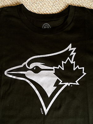 M or L BLUE JAYS Black Silver OFFICIAL MLB Baseball T Shirt Logo Cotton Toronto