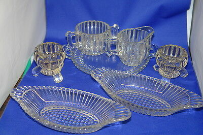 Jeanette National Glass Dishes Lot of 7 PCs - Cream, Sugar, Tray & Candlesticks
