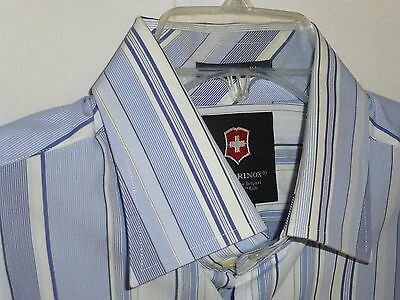 NWOT$175 Large 17x35 Victorinox Swiss Army Blue Striped Shirt ITALY 43 Nordstrom