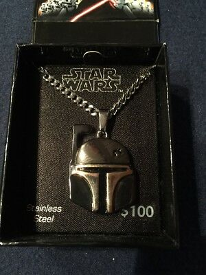 "STAR WARS JEWELRY.  Men's  22"" Stainless Necklace.  BOBA FETT."