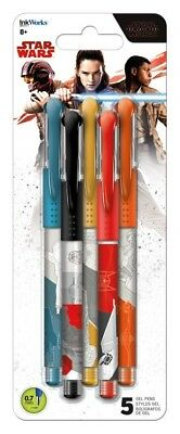 The Last Jedi - Star Wars Movie - Colored Gel Pens 5 Pack - Brand New - 1793