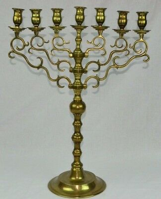 """Large Antique Vintage Ornate Brass Menorah Rotating Arms 21.5"""" Tall Seven Branch"""