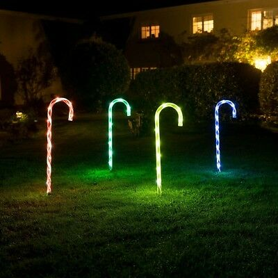 4 x 40 LED Candy Cane Christmas Lights Light Up Garden Path Outdoor Decorations