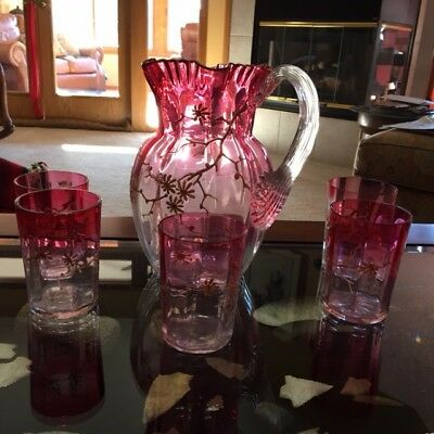 Vintage Victorian  CRANBERRY Water Pitcher and 5 Tumblers