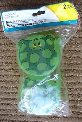 Turtle Animal Snack Containers with Spoon - Green