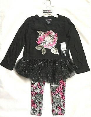 Limited Too Girls' Fashion Top and Leggings, darkest black 2 piece set
