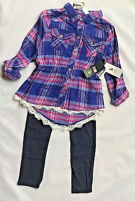NWT US POLO ASSN. Girls' Fashion Top and Leggings 2 piece set Purple/Pink Plaid