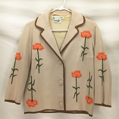 VTG GINO PAOLI BLAZER JACKET SIZE 10 Beige Floral Embroidered Button Front