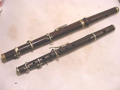 2  Vintage Antique Flutes  J.w.s.l Parade