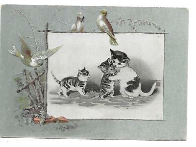 Victorian Kittens Trade Card Lion Coffee Woolson Spice Co. Toledo Ohio Cat Doves