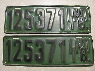 PAIR 1918 INDIANA LICENSE PLATE amateur repaint FREE SHIPPING #125371
