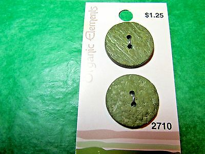 "(2) 1"" Organic Elements Green Wood Buttons Vintage Card Lot (S802)"