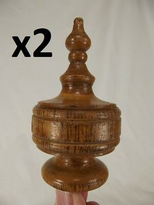 2 ANTIQUE FRENCH WOOD POST FINIAL END CAP Bed Furniture Banister turned clock