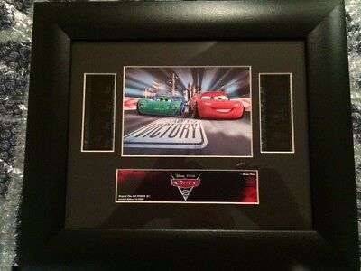 3 Disney Cars 2 Film Cells Framed McQueen Mater Finn McMissile Limited Edition