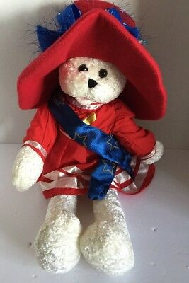 "Chantilly Lane Plush Bear 22"" Betsy Red Hat  Musical God Bless America Singing"