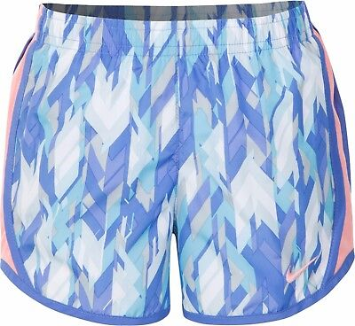 Nike Little Girls' Tempo Dry All-Over Print Shorts Size 6X Comet Blue