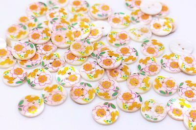 Orange Flower Seashell Button Floral Two Holes Natural Material DIY15mm 100pcs