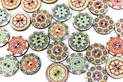 BOHO Flower Wooden Button Floral Bohemian Tribal Two Holes Sweater 20mm 100pcs