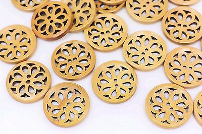 Brown Floral Filigree Wooden Sew Button Floral Coat Large Two Hole 30mm 100pcs
