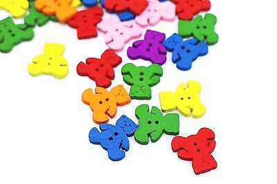 Teddy Bear Wooden Buttons Colorful Animal Bear Shaped Two Holes Sew 17mm 100pcs