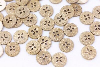 Flower Coconut Buttons Blouse Shirt Small Four Holes Round Brown DIY 13mm 100pcs