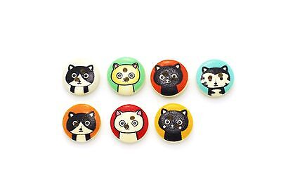 Cat Wooden Buttons Mixed Colors Two Holes Small Orange Animal Kitten 15mm 100pcs