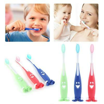 3pcs Soft Toothbrush Oral Care Kids teeth cleaning Child Brush Stand-up Sucker Q