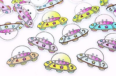 UFO Wood Sewing Buttons 28mm 50pcs