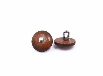 Small Brown Wooden Shank Button 11mm 50pcs