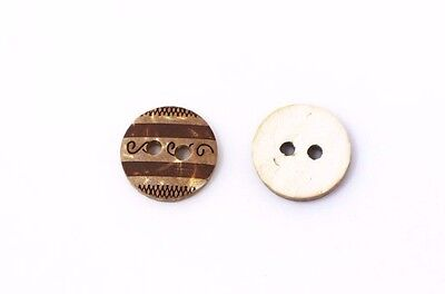 Tribal Pattern Coconut Shell Sewing Buttons 11mm 50pcs