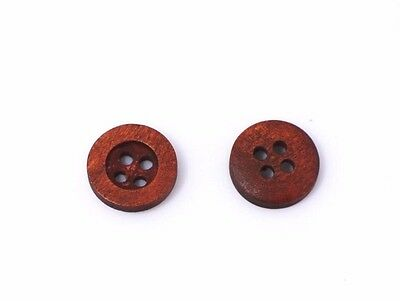 Red Brown Wood Sewing Buttons 13mm 50pcs