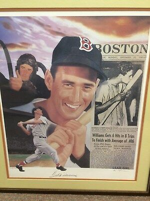 Ted Williams Autographed Framed Lithograph by Michael Elins