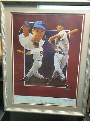 Ted Williams Autographed Framed Lithograph by Christopher Paluso