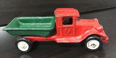 Vintage Early 1900's Cast Iron Metal Dump Truck Red Green Unmarked
